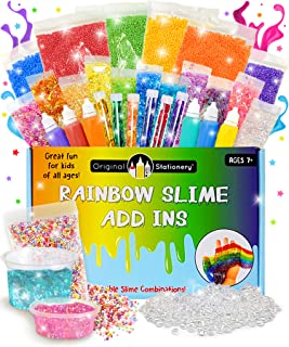 Slime Supplies Stuff [Rainbow Kit add ins] Making Slime for Girls and Boys - Perfect Gift Slime Kit Supplies with Floam, Fishbowl Beads, Flake Glitter, Pigment, Sequins - No Glue or Activator Included