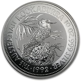 1992 AU Australia 10 oz Silver Kookaburra BU Silver Brilliant Uncirculated