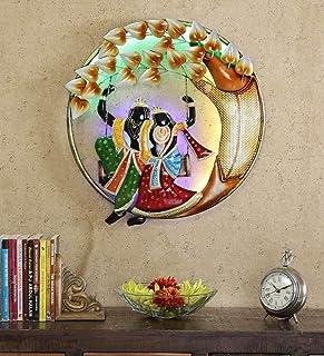 MICROTEX Radha Krishna on Swing Multicolour Metal Wall Art (22 in)