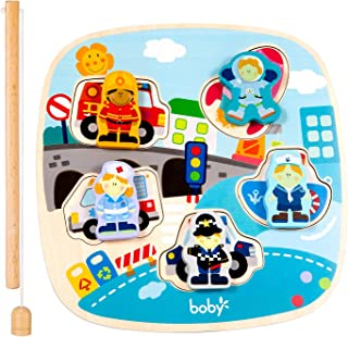Toddler Wooden Jigsaw Puzzle - Innovative Double Layer Wooden Magnetic Fishing Game Educational Learning Toys for Toddler Boys Girls Gifts(The City)