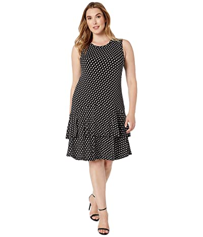 MICHAEL Michael Kors Plus Size Sliced Dot Sleeveless Flounce Dress (Black/Bone) Women
