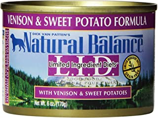 Natural Balance L.I.D. Limited Ingredient Diets Canned Wet Dog Food, Grain Free, Venison And Sweet Potato Formula, 6-Ounce...