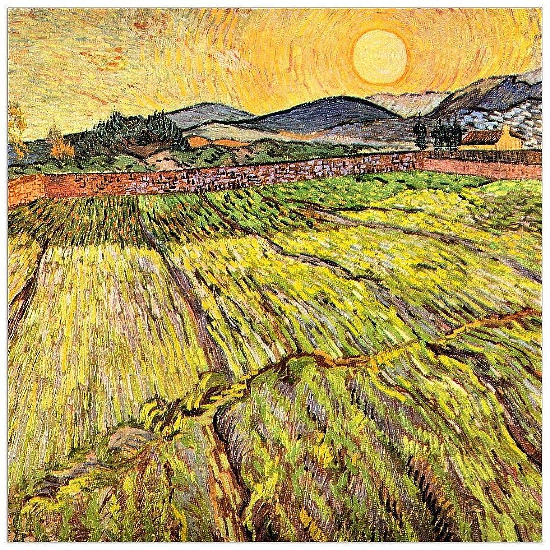 ArtPlaza TW91126 Van Gogh Vincent - Landscape with Plowed Fields Decorative Panel 15.5x15.5 Inch Multicolored