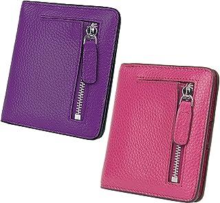 AINIMOER Women Leather Wallet RFID Blocking Small Mini Bifold Zipper Pocket Card Case Dark Purple and Purple