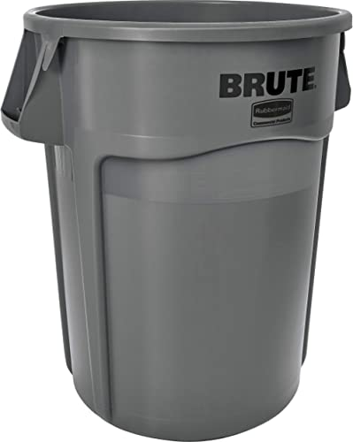 Rubbermaid Commercial Products BRUTE Heavy-Duty Round Trash/Garbage Can with Venting Channels - 44 Gallon - Gray (Pac...