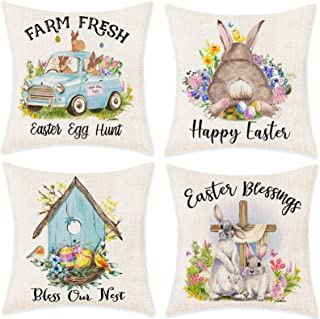 Bonsai Tree Easter Pillow Covers, Happy Easter Bunny Blue Pickup Truck Farmhouse Pillow Cases 18x18 Inches, Easter Eggs Ne...