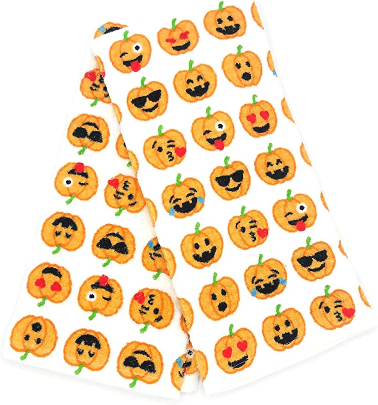 TT Lola Halloween Pumpkin Emoji Faces Set Of 2 Kitchen Towels Soft Absorbent Cotton Dishtowels Decorative Halloween Festive Theme Great For Holiday Baking Cooking Drying Dishes