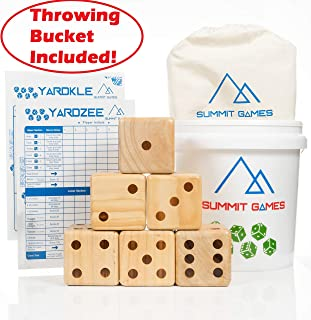 Summit Games Giant Yard Dice Set - Includes 6 Wooden Dice (3.5