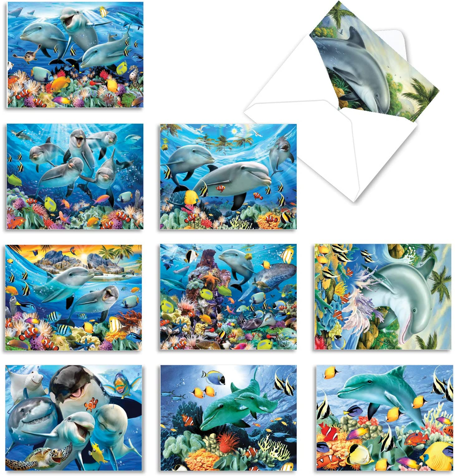 Set of Personalized Note Cards Double-Sided Thank you Cards Kids Notecards 4.25\u201d x 5.5\u201d Children Stationery Dolphin Note Cards