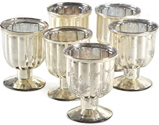 Serene Spaces Living Antiqued Mercury Glass Pedestal Votive, Set of 6