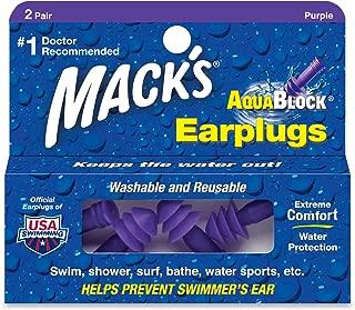 Macks Soft Flanged Aqua Block Earplug, Purple , Standard 8 Pair