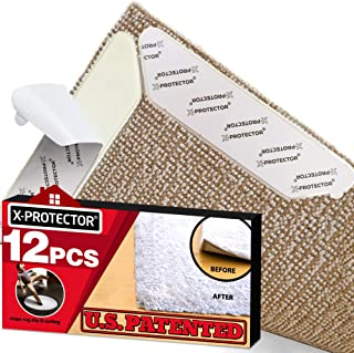 Rug Grippers X-PROTECTOR – Best 12 pcs Anti Curling Rug Gripper. Keeps Your Rug in Place & Makes Corners Flat. Premium Carpet Gripper with Renewable Gripper Tape –Ideal Anti Slip Rug Pad for Your Rugs