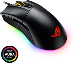 ASUS ROG Gladius II Origin Wired USB Optical Ergonomic FPS Gaming Mouse featuring Aura Sync RGB, 12000 DPI Optical, 50G Acceleration, 250 IPS sensors and swappable Omron switches
