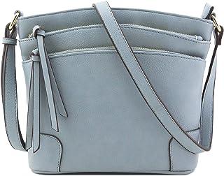 Mittelgroße Umhängetasche mit 3 Reißverschlusstaschen.