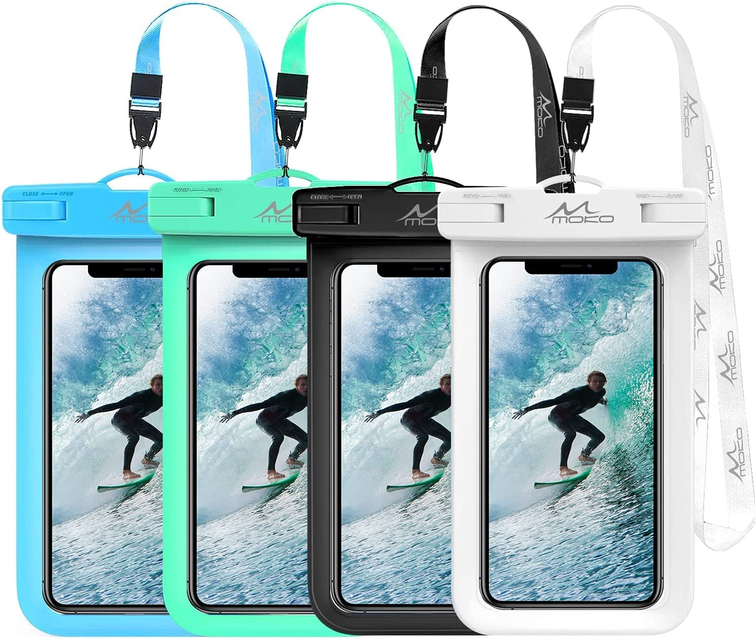 MoKo Waterproof Phone Pouch Holder [4 Pack], Underwater Phone Case Dry Bag with Lanyard Compatible with iPhone 13/13 Pro Max/iPhone 12/12 Pro Max/11 Pro Max, X/Xr/Xs Max, Samsung S21/S10/S9, Note 10