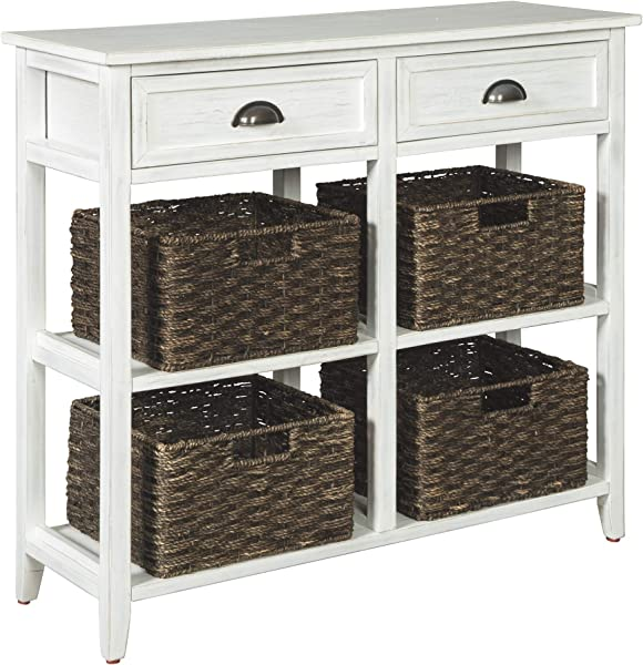 Ashley Furniture Signature Design Oslember Storage Accent Table Includes 4 Brown Removable Baskets Antique White Finish