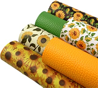 """David Angie Sunflowers Printed Faux Leather Sheet Litchi PU Synthetic Leather Sheet Assorted 6 Pcs 7.9"""" x 13.4"""" (20 cm x 3..."""