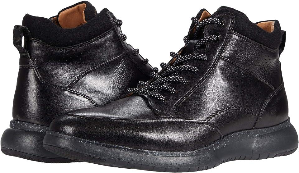Men's Florsheim Flair Moc Toe Lace Up Ankle Boot Black/Black Leather 7.5 W