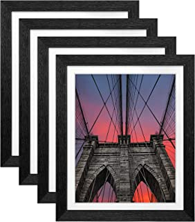 Ophanie 9x11 Picture Frames Set of 4, Easy Setup Photo Frame with 8x10 Mat and High-Definition Plexiglass for Wall or Tabl...