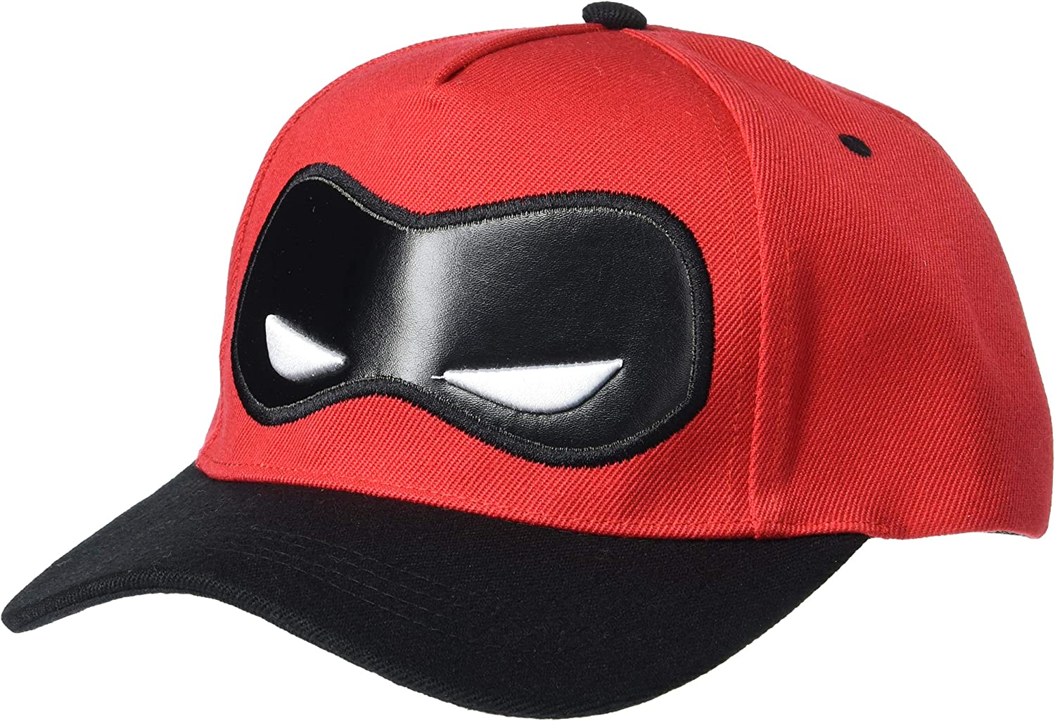 Concept One Disney's Pixar The Incredibles 2 Dash Mask Embroidered Adjustable Hook and Loop Baseball Hat with Curved Brim, Red, One Size
