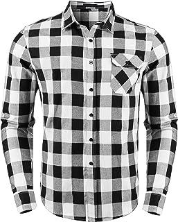 Sykooria Camisas a Cuadros de Franela para Hombre, Blusa de Manga Larga, Cuadros clásicos, Blusas con Estilo Casual, Ajust...