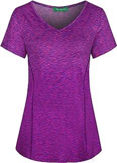 Kimmery Woman Short Sleeve V Neck Athletic Yoga Shirt