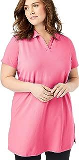 Woman Within Women's Plus Size Pique Open Collar Tunic