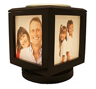 Memory Box Picture Frame Lamp and Electric Wickless Candle Warmer Or Oil Burner Combo - Add Your Own Photos! (Black)
