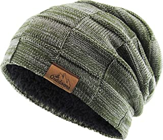 Super Warm Slouchy Fleeced Long Beanie Warm Fur Lined Winter Knit Hat Thick Skull Cap