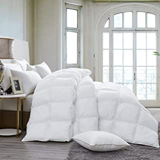 Luxurious 800 Thread Count Hungarian Goose Down Comforter Duvet Insert - Full/Queen Size, 750 Fill Power, 50 oz Fill Weight, 100% Egyptian Cotton Cover