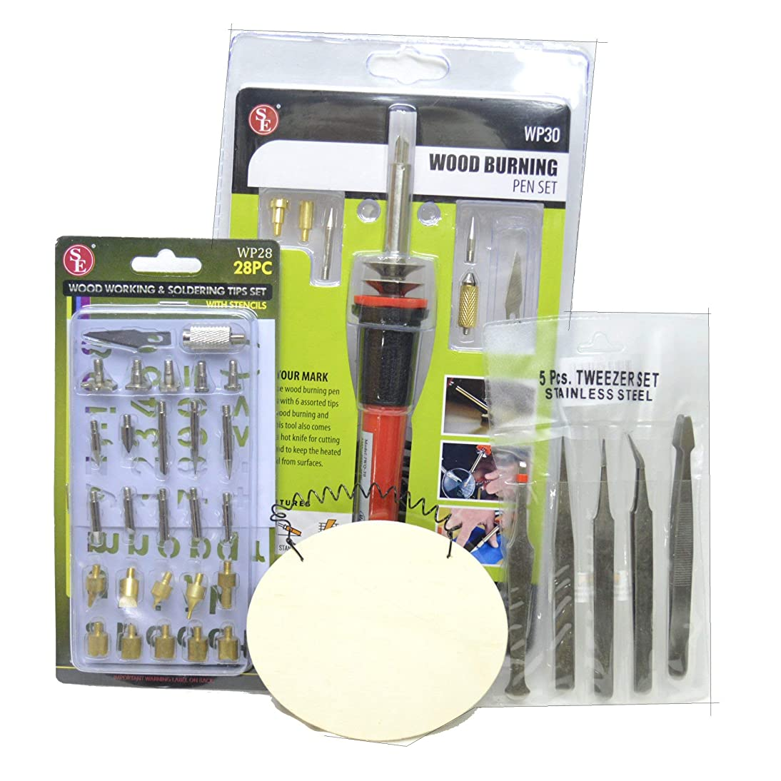 41-Piece Wood Burning Woodburner Bundle with 25 Extra Tips, Alphabet Templates, 5 Craft Tweezers, and Practice Wooden Ornament Blank for Crafts, Hobbies, and Soldering