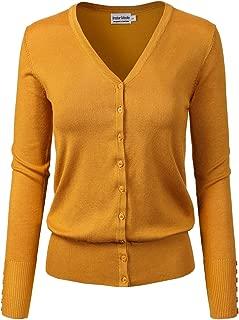 Instar Mode Women's Classic Button Down Long Sleeve V-Neck Soft Knit Sweater Cardigan [S-3XL]