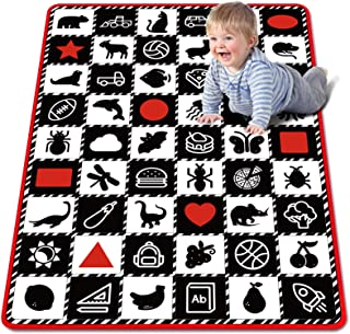 Baby Play Mat, Baby Crawling Mat Non-Slip Design, Playtime Collection Shapes, Vehicles and Animal High Contrast Educationa...