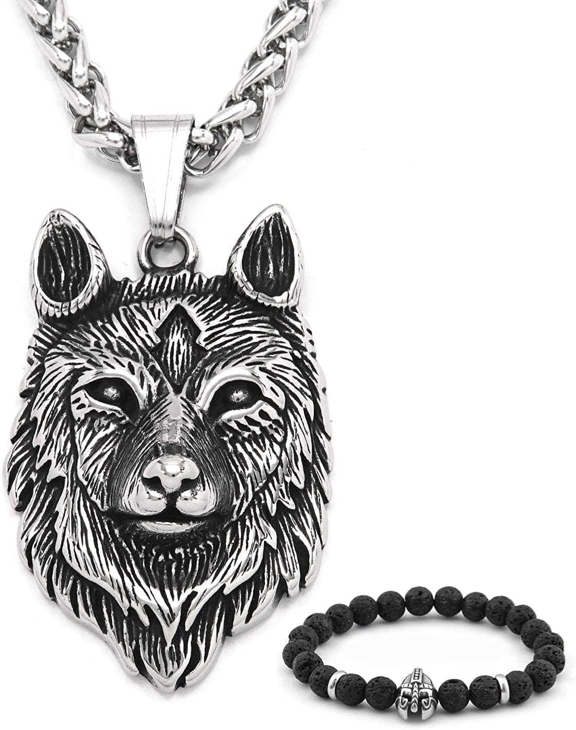 BAVIPOWER Viking Fenrir Head Pendant Stainless Steel Necklace Powerful Pagan Jewelry for Men Women Nordic Talisman Amulet Protection