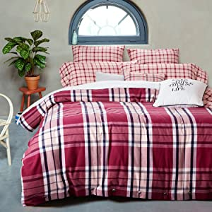 UFO Home 300 Thread Count 100% Flannel Yarn-Dyed Cotton Tartan Plaid Simple Concise Design 4pc Duvet Cover Set Brick Red Color Full/Queen Size