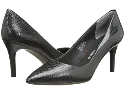 Rockport Total Motion 75mm Pointy Toe Pump (Nero Python) High Heels