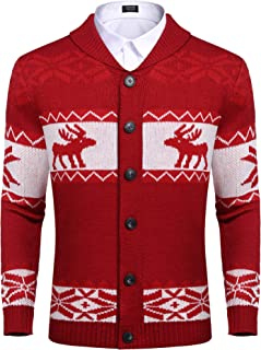 Mens Christmas Reindeer Snowflake Cardigan Sweater Shawl Collar Knitted Cardigans Button Down Knitwear