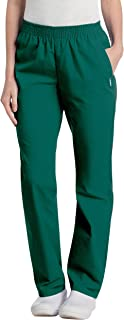 Landau Women's Comfortable Relaxed Fit 2-Pocket Elastic Waist Scrub Pant, Hunter, X-Small