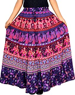 Rajvila 38 Inch Length Women's Cotton Printed Regular Long Elasti Skirt for Women (E_E38NT_0007)