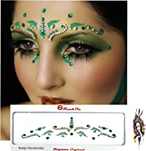 FunkOn® Green/Silver Bridal Bindi/Bollywood Costume/Face Art Gems Set/Brow Jewels/Tikka Indian Wedding Diamante/Glitter Crystal Face Gem Makeup for Festivals/Stick on Face BodyTattoo/BBDGR