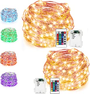 LED String Lights,Battery Powered Multi Color Changing String Lights with Remote,50 LEDs Indoor Decorative Silver Wire Lights for Bedroom, Patio, Garden, Christmas Tree,16ft, 2 Packs (16ft 2 Packs)