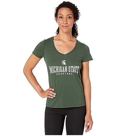 Champion College Michigan State Spartans University V-Neck Tee (Dark Green 4) Women
