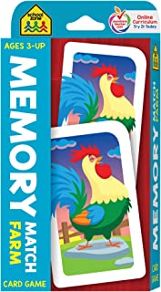 School Zone - Memory Match Farm Card Game - Ages 3+, Preschool to Kindergarten, Animals, Early Reading, Counting, Matching, Vocabulary, and More (School Zone Game Card Series)
