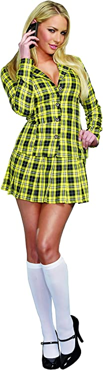 90s Clothing Outfits You Can Buy Now Dreamgirl Womens Fancy Girl Yellow Plaid Clueless Iggy Schoolgirl Costume  AT vintagedancer.com
