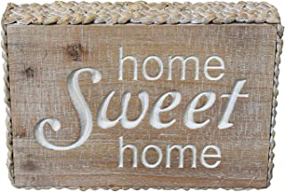 PrideCreation - 9.8x6.7 inch Straw Surrounded Home Sweet Home Rustic Vintage Wooden Box Sign Wall Decor Art, Carved Farmhouse Table Wall Signs Desk Block Wood Panel Plaque Wall Hanging Home Sign