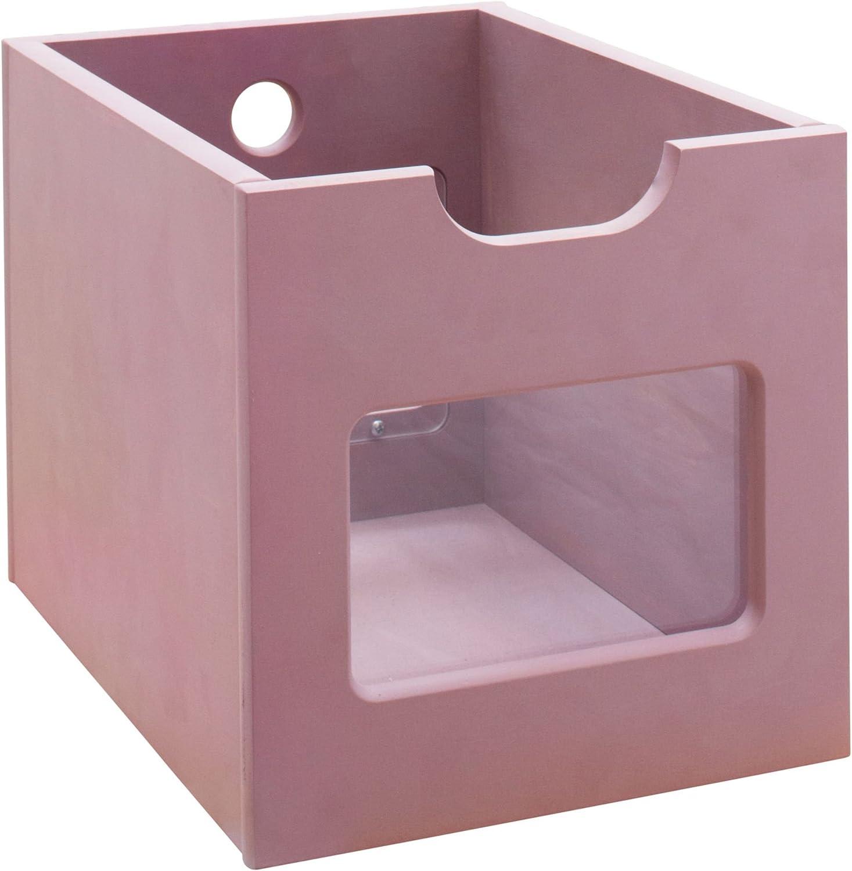 BioKinder Robin Aufbewahrungsbox Ordnungskiste Ordnungsbox mit Sichtfenster aus Massivholz Erle 25,5 x 34,6 x 25,6 cm Flieder lasiert