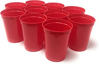 CSBD Stadium 16 oz. Plastic Cups, 10 Pack, Blank Reusable Drink Tumblers for Parties, Events, Marketing, Weddings, DIY Projects or BBQ Picnics, No BPA, (10, Red)