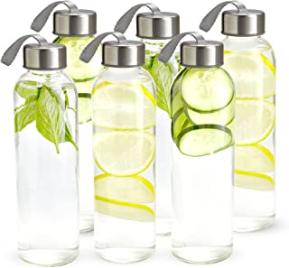 Kitchen Lux 18oz Glass Water Bottles – 6 Pack - Nylon Protective Sleeves, Airtight Screw Top Lids, Portable Carrying Loops - Lead, PVC and BPA Free - Water, Smoothie, Juicer and Beverage Glasses