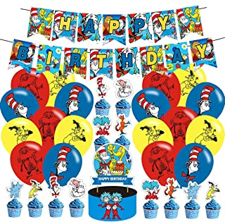 Dr Seuss Birthday Party Supplies Thing 1 And Thing 2 Party Decorations Set With a Happy Birthday Banner Cake Topper Cupcak...