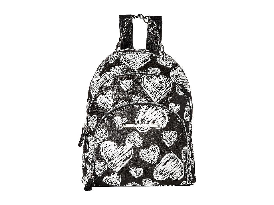 Betsey Johnson Triple Zip Backpack (Black/White) Backpack Bags